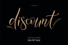 Discount vector illuctration. Vector illustration EPS 10 of calligraphy, logotype, text as banner, quotation, detail, concept of internet clothes shop page Royalty Free Stock Photos