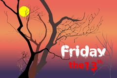 Dead trees at night dusk time after sunset violet / purple, red, orange light with white Friday and red the 13th text. Vector illustration, EPS 10. Concepts of royalty free illustration