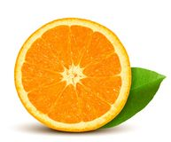 Vector fresh orange with leaf Royalty Free Stock Photo