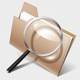 Search Icon, folder and magnifier. Vector illustration. EPS10. Contains transparent objects used for shadows drawing Royalty Free Stock Photos