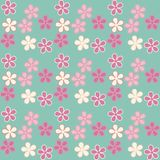 Vector illustration. Eps 10. Flowers on a blue background. Seaml. Trendy seamless flowers pattern on blue background , vector illustration. Eps 10. Floral Stock Photo