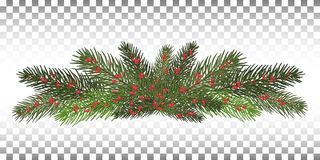 Vector illustration. Eps 10.Garland of branches of a Christmas t. A long garland of fir branches. Christmas decor of natural elements. Drawing. Isolated . New Stock Photo