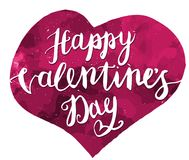 Happy Valentines Day Hand Drawing Pen Brush Lettering. Vector. royalty free illustration