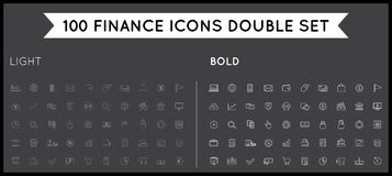 Set of Thin and Bold Vector Finance Money Icons and Payments. Vector Illustration EPS 10 with High Quality Stock Photos