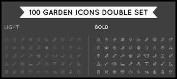 Set of Thin and Bold Vector Garden and Farm Elements royalty free illustration