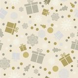 Vector illustration. Eps 10. seamless background. Snowflakes, gi. Winter festive seamless background. Snowflakes, gifts, snowfall. Christmas background. New Year Royalty Free Stock Images