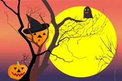 Happy Halloween theme. Dead trees at night dusk time after sunset with the moon, happy pumpkins and evil. Vector illustration, EPS 10. The yellow area at bottom royalty free illustration