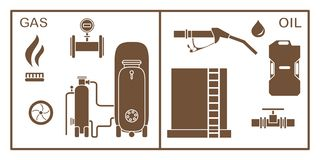 Oil, gas industry equipment. Extraction, storage. Vector. Vector illustration with equipment for oil and gas production. Oil industry, gas industry. Extraction vector illustration