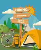 Vector illustration with equipments for Hiking and bicycle Stock Image