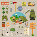 Vector illustration with equipments for Hiking and camping. Royalty Free Stock Photos