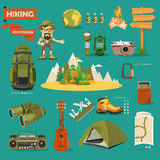 Vector illustration with equipments for Hiking and camping. Royalty Free Stock Photo