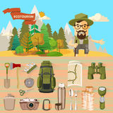 Vector illustration with equipments for Hiking and hiker. Stock Photo