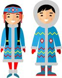 Vector illustration of eskimo children, boy, girl, people. Set of eskimo woman and man dressed in national costumes Stock Images