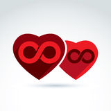 Vector Illustration of an eternity symbol placed on a red heart. Vector infinity icon. Illustration of an eternity symbol placed on a red heart, love forever Stock Images