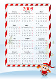 Vector illustration of European holiday calendar. Vector illustration of European calendar with Santa Claus helper, starting with Mondays Stock Illustration