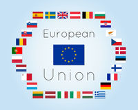 Vector illustration of European Union countries flags Royalty Free Stock Photography