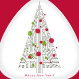 Vector illustration of evergreen Christmas tree created with wir. Eframe and connected lines as branches. Celebration theme. Eco friendly technology concept Royalty Free Stock Photos