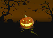 Vector illustration of evil pumpkin on the grave Royalty Free Stock Images