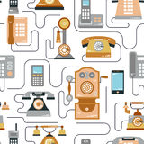 Vector illustration of evolution of communication devices from classic phone to modern mobile phone seamless pattern. Retro vintag Stock Photo