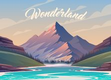 Free Vector Illustration. Exciting View. A Great Mountain Is Surrounded River. 2 Stock Image - 132526901
