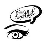 Vector illustration eye human black eyeball look white eyesight vision see Stock Images