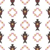 Vector Illustration für den nahtlosen Hintergrund Shrovetide-Festes Samoware, nationale Muster Stockbilder