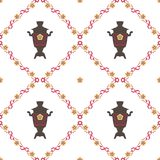 Vector Illustration für den nahtlosen Hintergrund Shrovetide-Festes Samoware, nationale Muster Lizenzfreies Stockbild