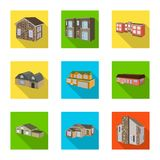 Vector design of facade and housing logo. Set of facade and infrastructure vector icon for stock. Vector illustration of facade and housing icon. Collection of royalty free illustration
