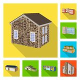 Vector illustration of facade and housing icon. Set of facade and infrastructure stock vector illustration. Isolated object of facade and housing symbol stock illustration