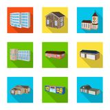 Vector design of facade and housing symbol. Set of facade and infrastructure vector icon for stock. Vector illustration of facade and housing sign. Collection vector illustration