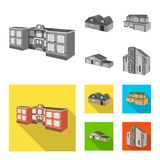Vector design of facade and housing symbol. Set of facade and infrastructure stock vector illustration. vector illustration