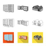 Vector illustration of facade and housing symbol. Collection of facade and infrastructure stock symbol for web. Isolated object of facade and housing sign. Set royalty free illustration
