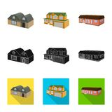 Vector design of facade and housing icon. Collection of facade and infrastructure vector icon for stock. Vector illustration of facade and housing symbol. Set royalty free illustration