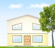 Vector illustration facade with tree Royalty Free Stock Photos
