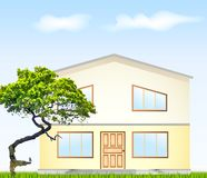 Vector illustration facade with tree Stock Photography