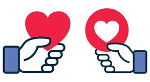 Facebook heart icon in hand royalty free illustration