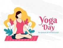 Vector illustration of faceless woman in Meditation pose on abstract background. Yoga Day Poster or banner design with text of `For Peace Of Mine & Soul royalty free illustration