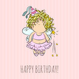 Vector illustration of a fairy with magic stick. congratulations card. Stock Photo