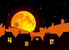 Vector illustration: Fairy tale Halloween landscape with realistic full moon, village landscape silhouettes on fading background m Royalty Free Stock Photos