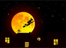 Vector illustration: Fairy tale Halloween landscape with realistic full yellow orange moon, village landscape silhouettes with c. Ats in windows and witch with Royalty Free Stock Images