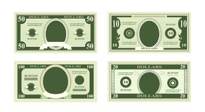 Vector illustration of fake dollars banknotes. Bill one hundred dollars suitable for discount cards on white background stock illustration