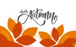 Vector illustration: Fall leaves background with hand lettering of Hello Autumn. Vector illustration: Fall leaves background with hand lettering of Hello Autumn Royalty Free Illustration