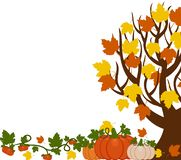 Vector illustration of a fall tree with leaves, orange and white vector illustration
