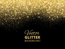 Vector illustration of falling glitter confetti, golden dust. Fe Stock Photography