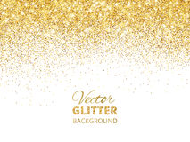 Vector illustration of falling glitter confetti, golden dust. Fe. Falling glitter confetti. Vector golden dust isolated on white. Festive background with vector illustration