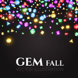 Vector illustration. Falling Multicolor Gems. Treasure Design. Abstract Luxury and Game Background. Royalty Free Stock Photos