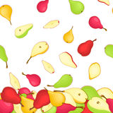 Vector illustration of falling pears. Yellow red and green  pattern pear fruits whole  slice appetizing looking. Group Royalty Free Stock Photography