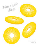 Vector illustration of falling pineapple slices isolated on white background. A cut rings of fresh exotic fruit. Set of four Different angles of view. Natural Royalty Free Stock Photos