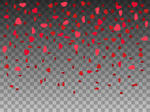 Vector illustration falling red paper hearts Stock Images