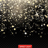 Vector illustration of a falling shiny golden glitters, confetti on a black background Stock Images